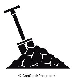 Shovel in coal icon, simple style - Shovel in coal icon....