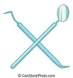 Dental tools icon, cartoon style - Dental tools icon....