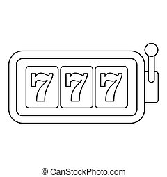 Slot machine with three sevens icon, outline style