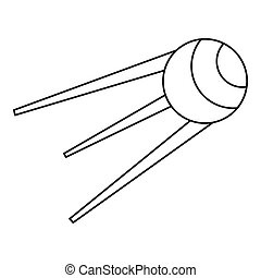 Artificial Earth satellite icon, outline style