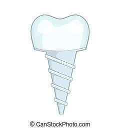 Dental implant icon, cartoon style - Dental implant icon....