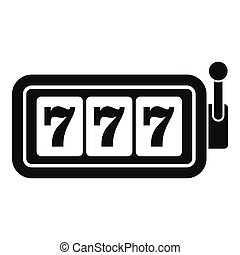 Lucky seven on slot machine icon, simple style