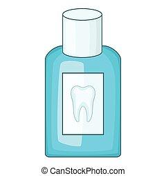 Mouthwash bottle icon, cartoon style - Mouthwash bottle...