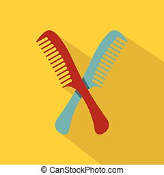 Red and blue combs icon, flat style - Red and blue combs...