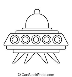 Ufo flying saucer icon, outline style