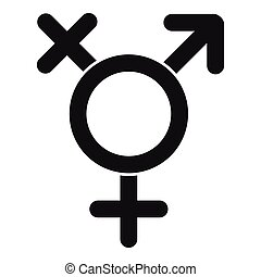 Transgender sign icon, simple style - Transgender sign icon....