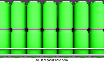 Green cans at supermarket. Soda or energy drinks on store...