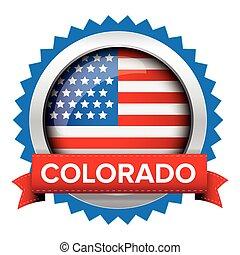 Colorado and USA flag badge vector