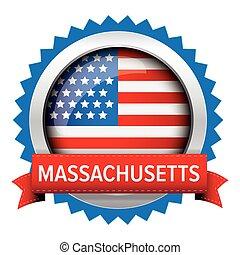 Massachusetts and USA flag badge vector