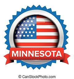 Minnesota and USA flag badge vector
