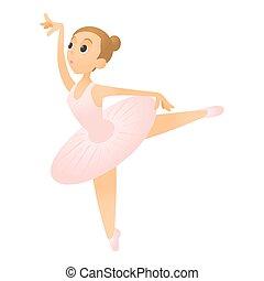 Ballerina with raised leg icon, flat style