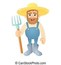 Farmer with pitchfork icon, flat style - Farmer with...