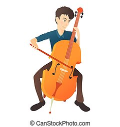 Man plays on cello icon, flat style - Man plays on cello...