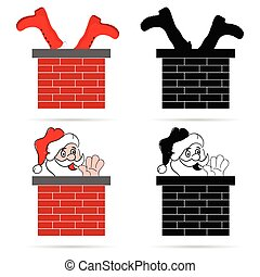 santa clause in colorful with chimney illustration