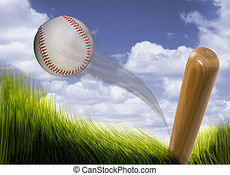 Baseball and Bat. - Baseball bat hitting fast hardball.