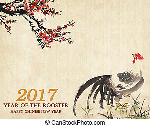2017 Rooster year Traditional China Rooster with plum,mean...