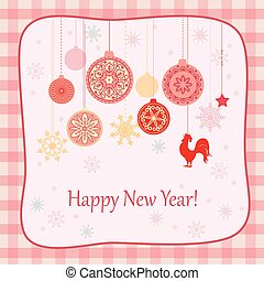 new year retro card with rooster and cristmas balls - New...