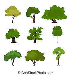 Tree icon set. Rree silhouette forest, leaf tree, tree...