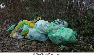 Garbage bags on nature pollution dry grass in autumn -...