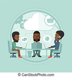 Business team brainstorming vector illustration.