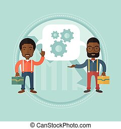 Overcome the financial crisis vector illustration. - Two...