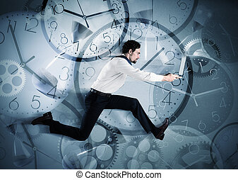 Businessman overload appointments - Overworked and late...