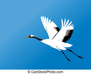 chinese red-crowned crane fly in blue sky vector