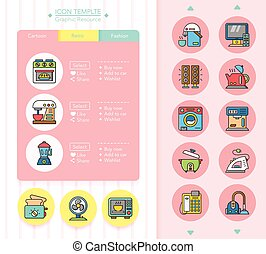 icon set applianace vector
