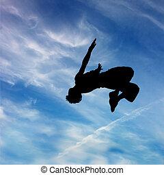 azul, silueta, céu, contra, Pular, Nuvens, homem