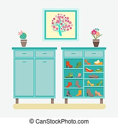 collection of Footwear shoes on shelves - Vector collection...