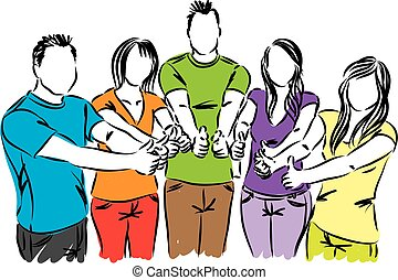 group of people thumbs up illustration