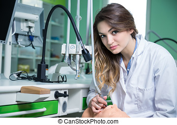 dentale, moderno, giovane, clinica, STUDENTE, tempo, primo