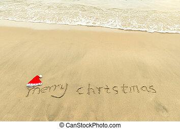 Merry Christmas written on tropical beach
