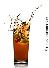 Beautiful splash of cola in glass isolated on white