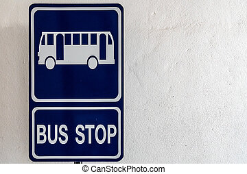Blue bus stop sign