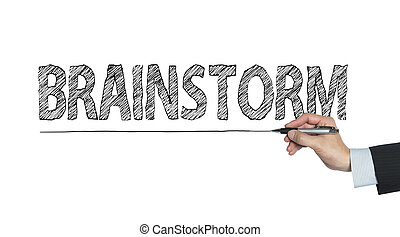 brainstorm written by hand, hand writing on transparent...