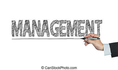 management written by hand, hand writing on transparent...