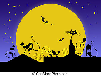 silhouettes of black cats and bats against moon in halloween...