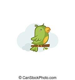 Green Parrot - Cute Green Parrot vector design