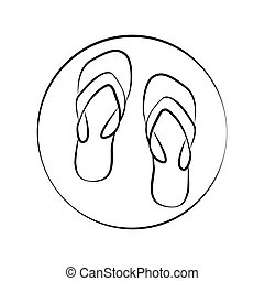 Flipflops - Pair of flip flops, minimalistic vector icon.