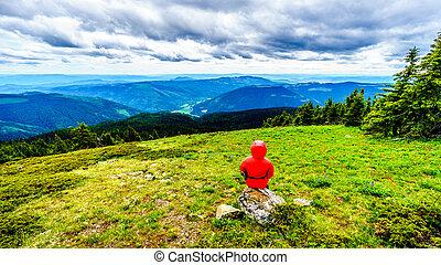 Senior Woman enjoying the View on a hike through the Alpine Meadows of Tod Mountain