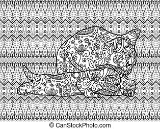 Coloring page for adults. Mother cat with a kitten. Line art...