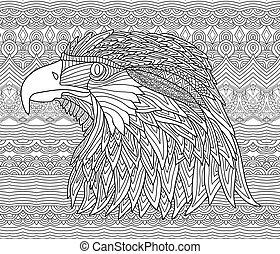 Zenart. Coloring book page for adults. Hand-drawn figure of...