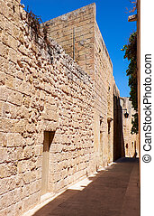 The narrow street of Mdina, the old capital of Malta. - In...