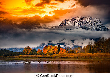 Grand Teton National Park Cloudy Sunrise Fall Colors -...