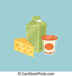 Dairy products isolated on blue background - Cheese and...