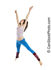 jumping young dancer isolated on white background