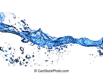 water splash with bubbles isolated on white