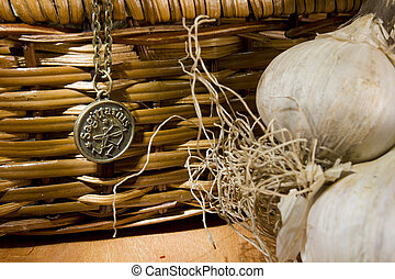 Garlic and Sign - Garlic and zodiac sign on a background of...