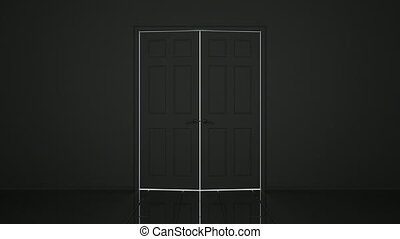 Doors 3D animation - 3D animated doors opening, alpha mask...
